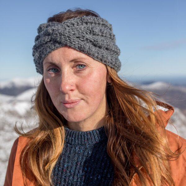 Twisted boho headband, ear warmer, crochet, headband, grey, girl, mountain