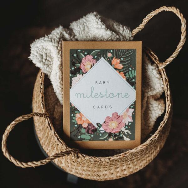 Botanical Baby Milestone Cards Gift Set of 15 Illustrated Designs