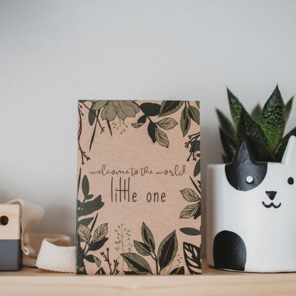 Eco New Baby and gender neutral Card - Welcome the world little one printed onto recycled kraft card