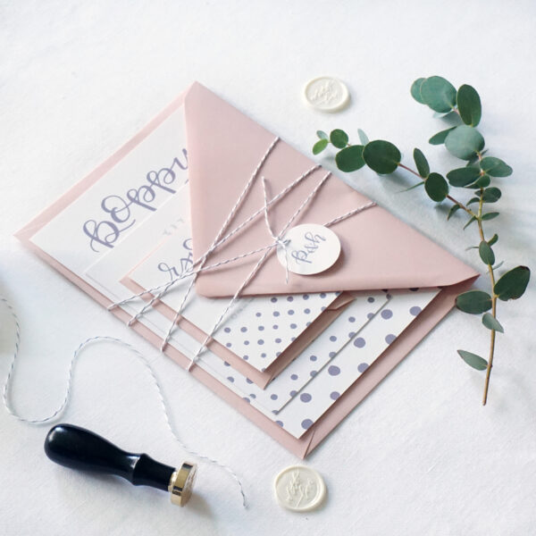 Daydream Paper Studio, Blush Pink with Grey Polka Dot Wedding Stationery Suit