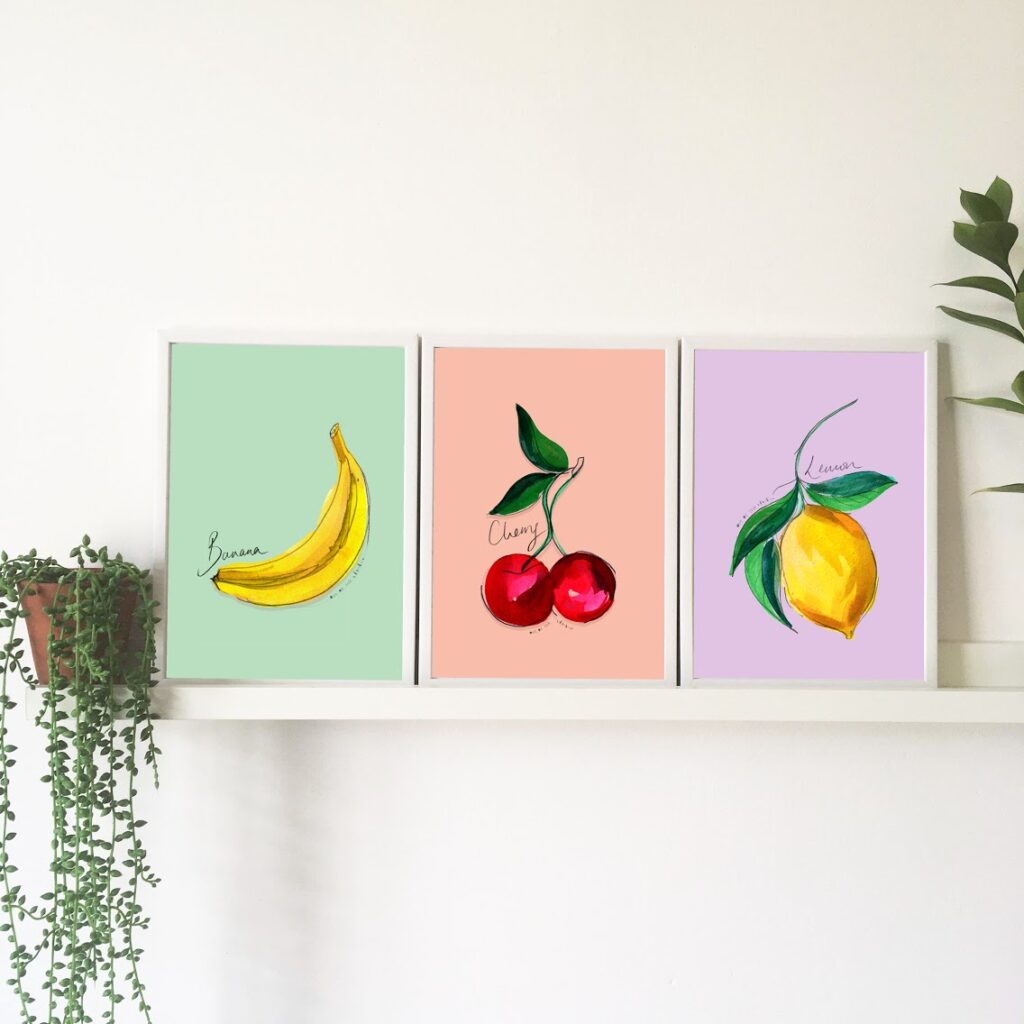 Out of Ink Studio, kitchen print, banana print, cherry print, lemon print