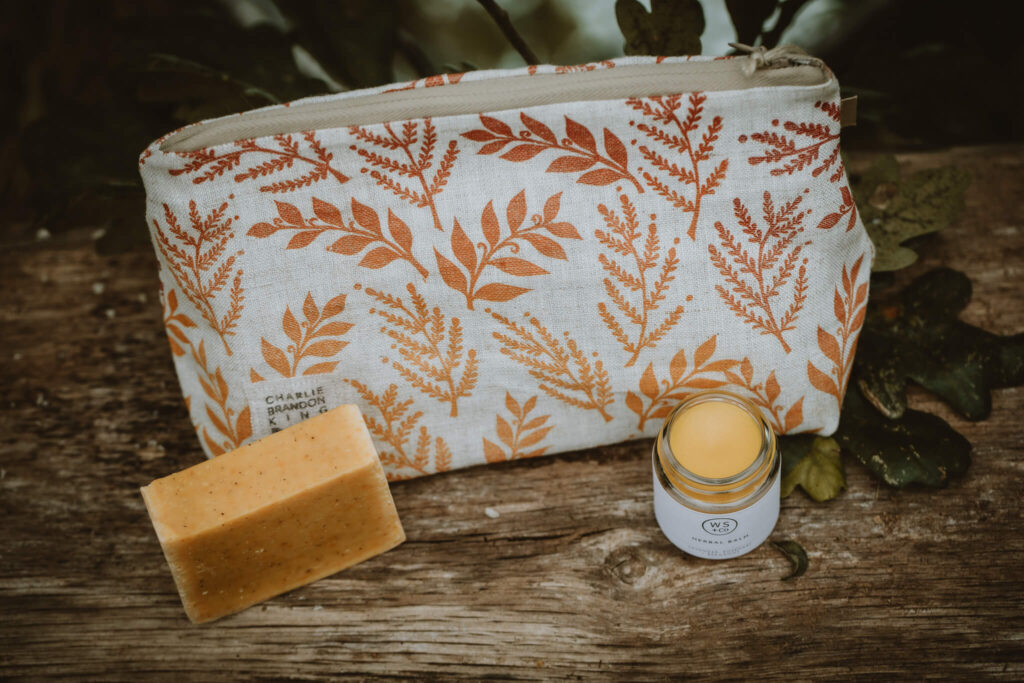 These Two Hands handprinted linen make up bag