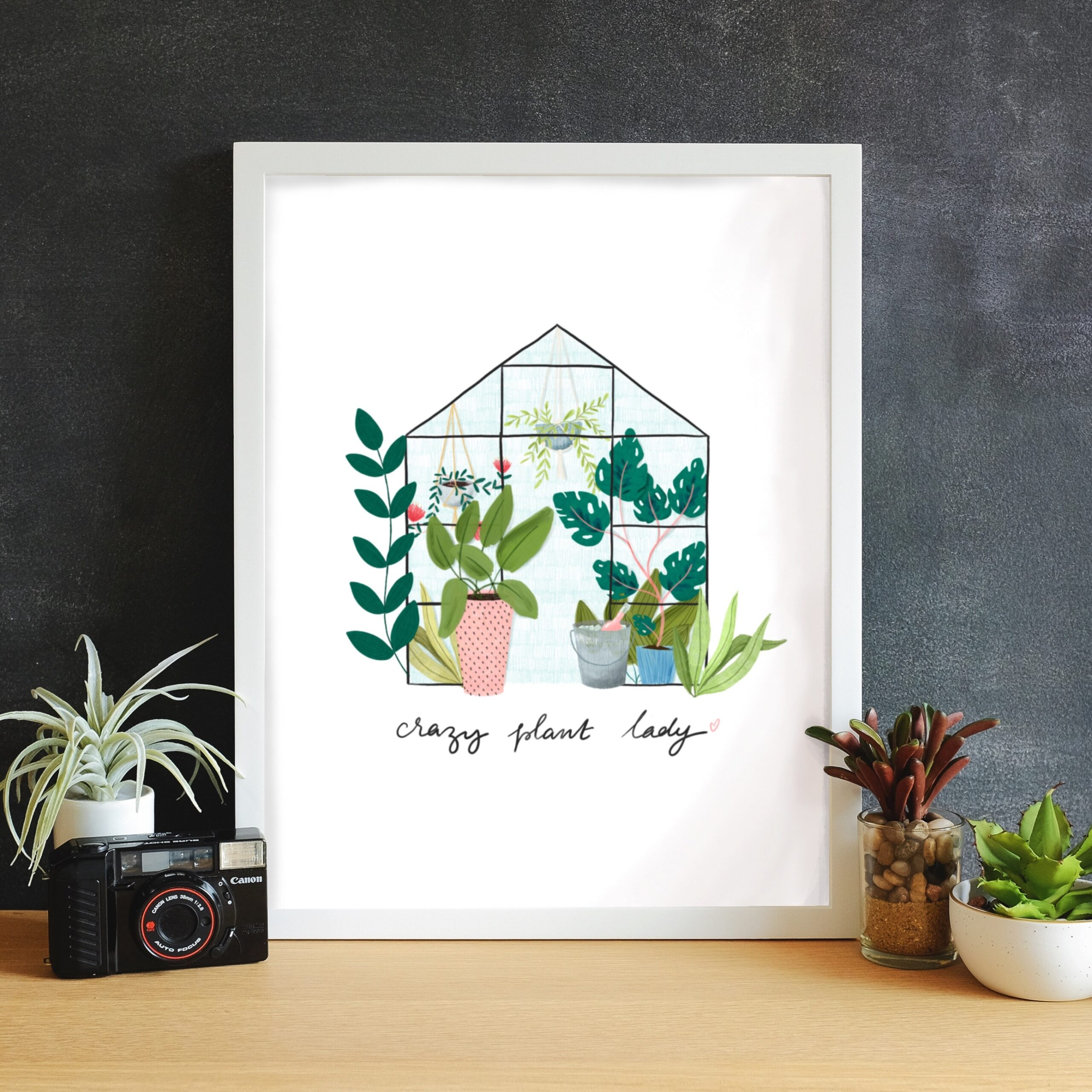 The Little Posy Print Company, Crazy Plant Lady Illustrated Art Print