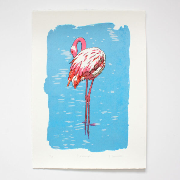 Flamingo screen print by Fiona Hamilton