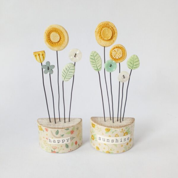 Thimbleville clay flower gardenswith sunshine flowers happy sunshine vintage buttons