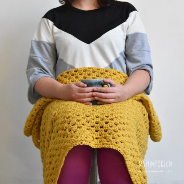 Mustard Crochet Blanket, lap, coffee, comfy.