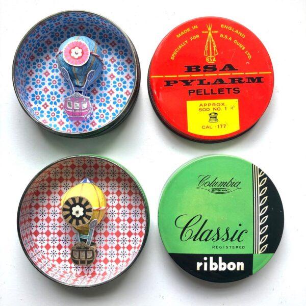 Bonker*s Clutterbucks Hot Air Balloon Dioramas in Circular Vintage Tins