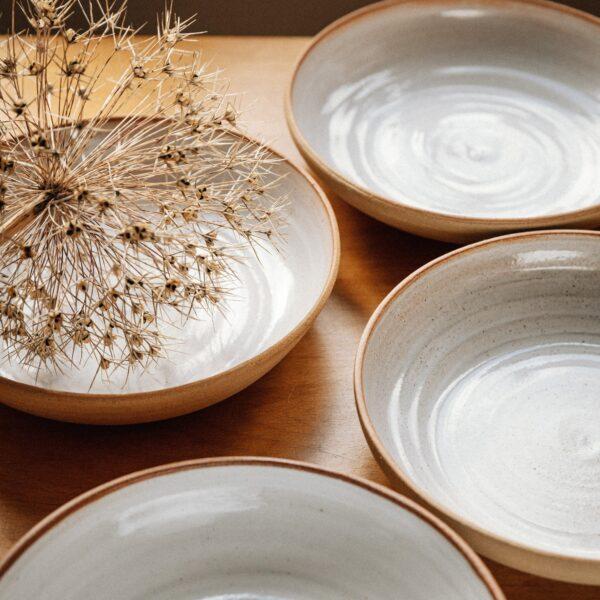 Kate Cooke Ceramics - contemporary stoneware ceramic pasta bowls natural clay outside and gloss white glaze