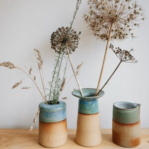 Kate Cooke Ceramics - contemporary stoneware ceramic vases natural clay blue green turquoise glaze