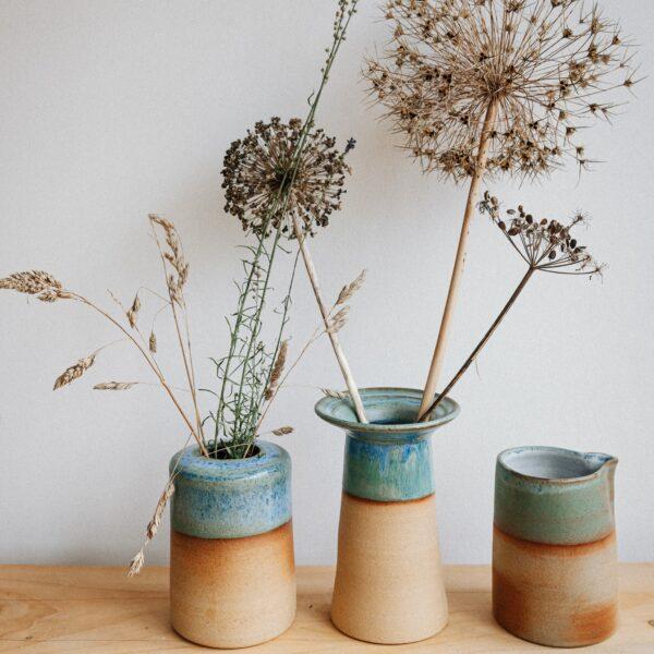 Kate Cooke Ceramics - contemporary stoneware ceramic vases natural clay blue green turquoise glaze