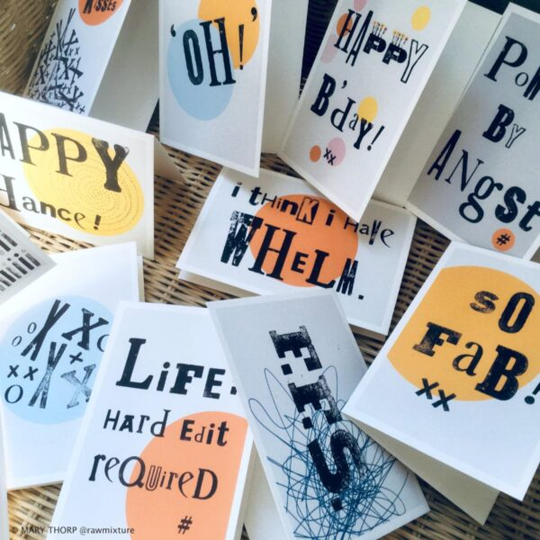 RAW MIXTURE PUBLISHING, A6 original typography cards