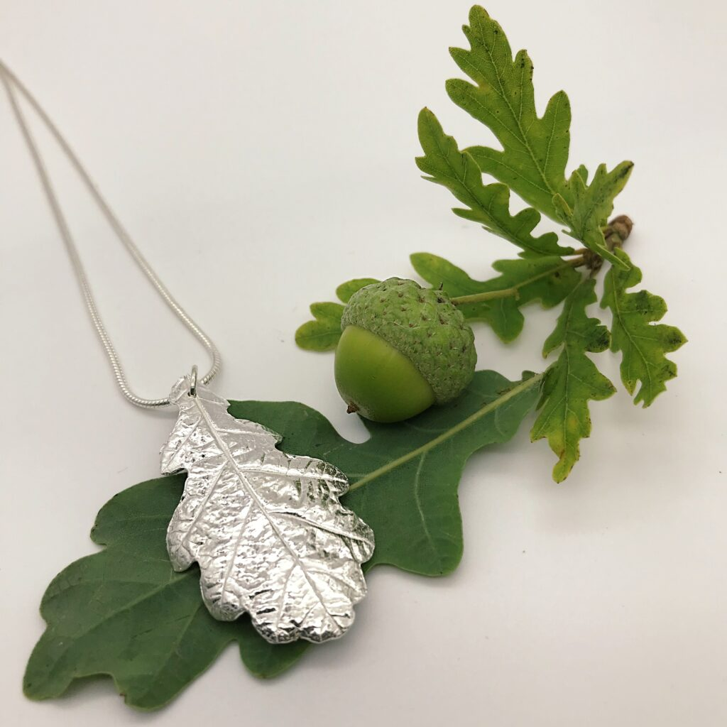 Firetree, Oak Leaf Pendant, real leaf necklace.