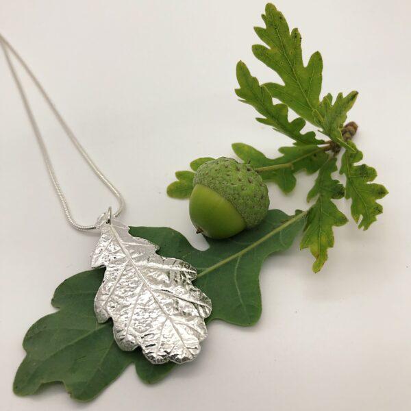 Firetree, Oak Leaf Pendant, real leaf necklace.