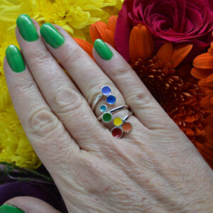 Viksilver, Sterling silver and rainbow enamel ring