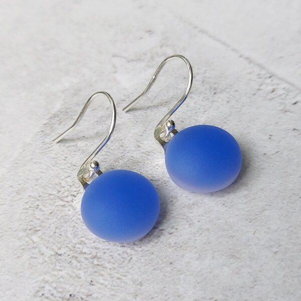 Helen Smith Glass, Periwinkle Blue Drop Earrings, fused glass and sterling silver earrings