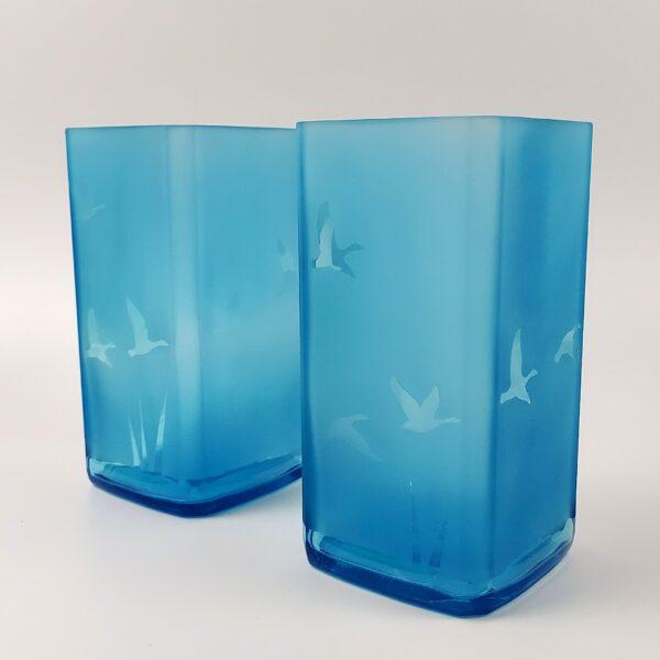 Helen Smith Glass, Upcycled Bottle Vases, Blue Glass Vases