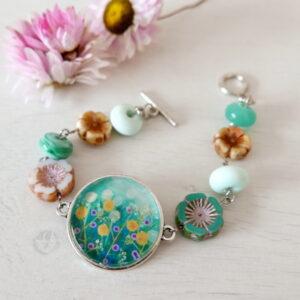 Turquoise Floral Bracelet