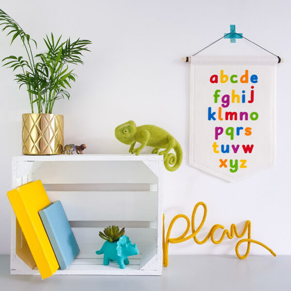 Petit Boo Che, felt lowercase alphabet banner in rainbow and pastel colours