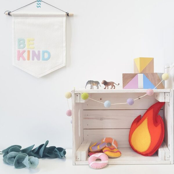 Petit Boo Che, Be Kind felt nursery banner