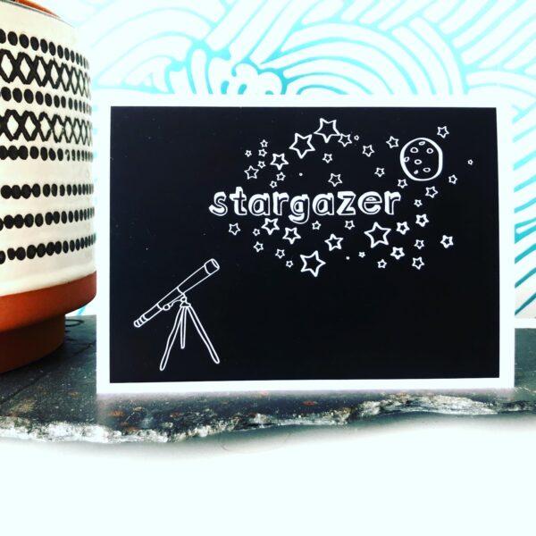 Stargazer art print - black and white