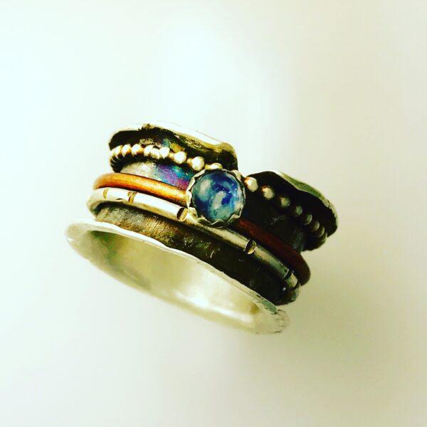 Small Dog Silver, Midnight Spinner Ring