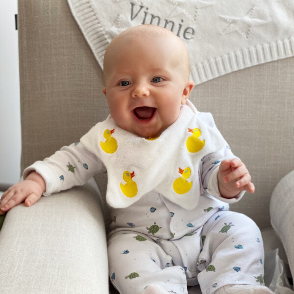 Dribble Days, Baby wearing Rubber Duck Baby Bib