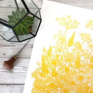 Hayley Harrison Designs, Botanical Orb Summer, yellow floral print on white paper with lino carving tool and plant