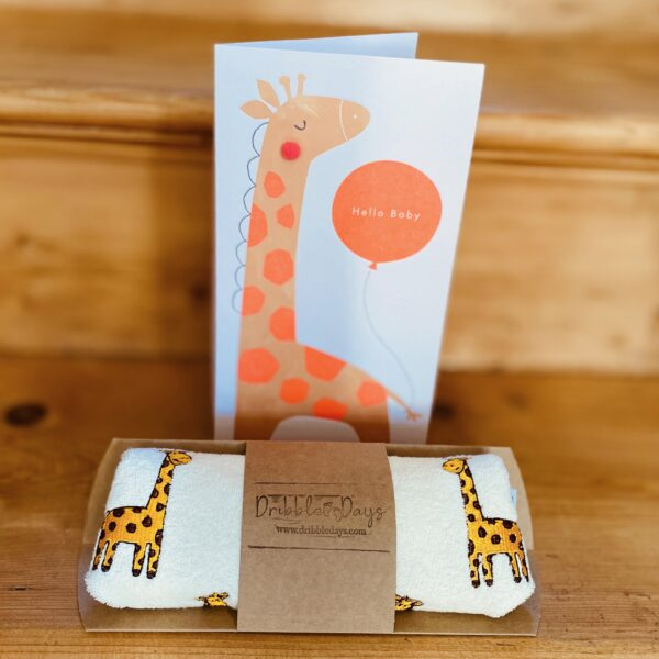 Dribble Days, Giraffe Embroidered Baby Bib