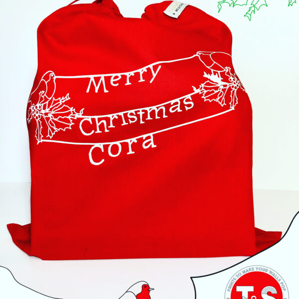 Personalised Cotton Christmas Gift Bag Red with white print