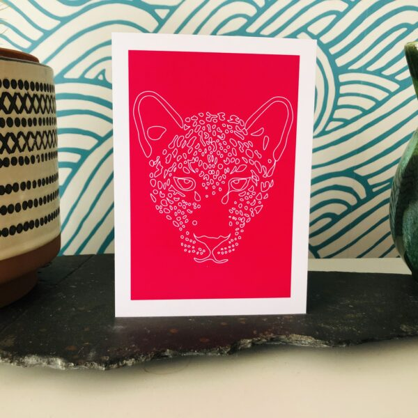 Pink and white leopard art print