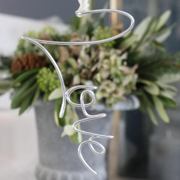Wire typography tree decorations by Wired Mama