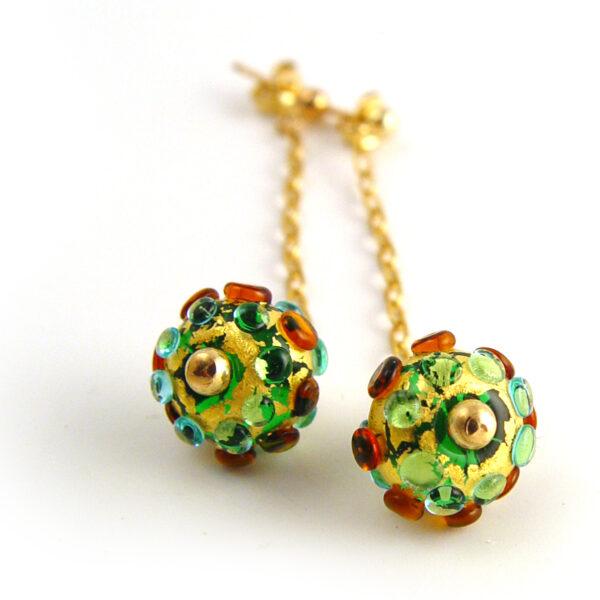 Suzanne Jewellery, Emerald Green, Amber & Gold Lampwork GlassDrop Earrings