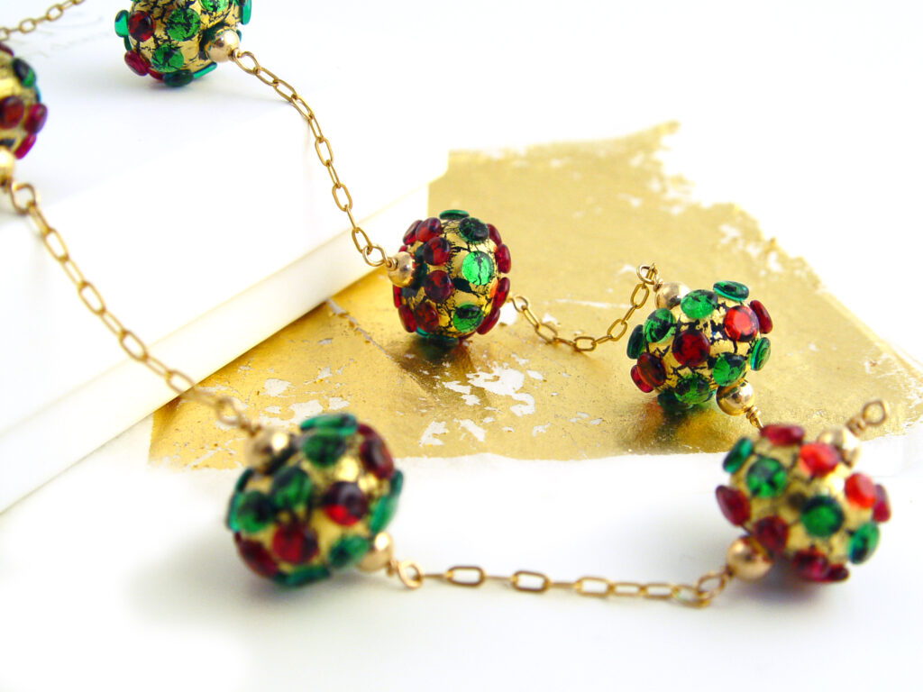 """Lampwork Glass Beads & Gold 18"""" Necklace"""