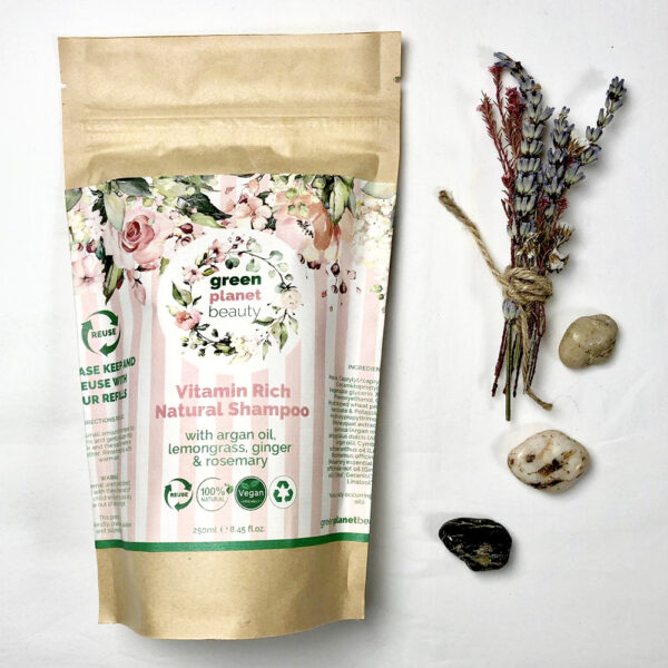 That Refill Place, Green Planet Beauty Refillable Shampoo, Compostable brown pouch containing shampoo
