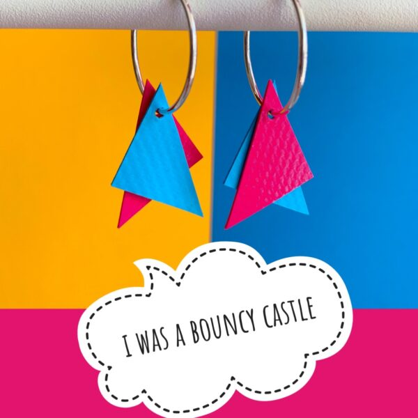 Stellen, I was a bouncy castle, blue and pink earrings on silver hoops