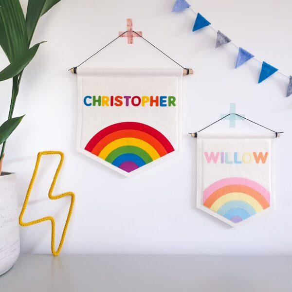 Petit Boo Che, Personalised felt rainbow banner for childrens nursery