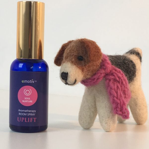 Emotiv Aromatherapy SOUL NURTURE uplifting essential oil room spray and Happy Hound felt dog with pink scarf. Spray the dog to hold the pretty aroma for hours.