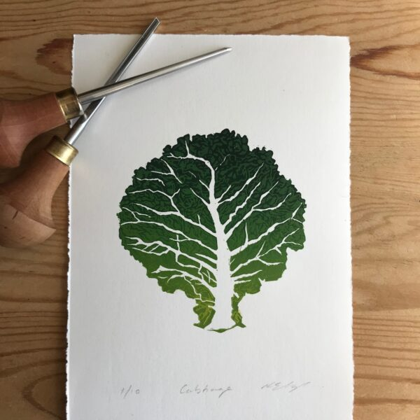 The Pepper Press Cabbage Linocut Nature Leaf Linoprint