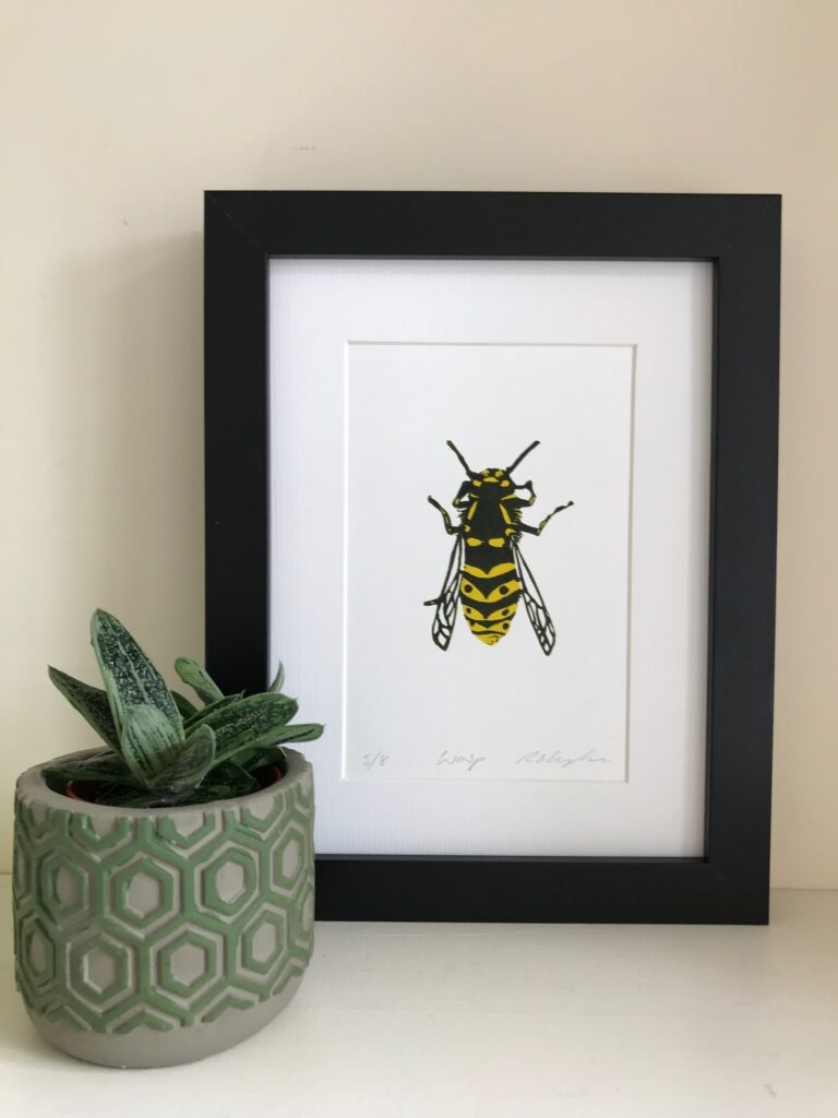 The Pepper Press Wasp Insect Linocut Print Nature Insect Linoprint