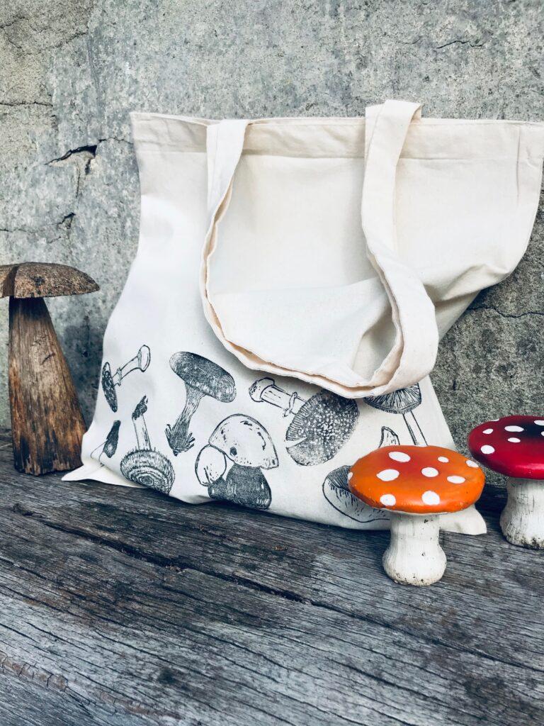 The Pepper Press Mushroom Tote Bag, Shopper, fungi shoulder bag, Handmade, Hand printed