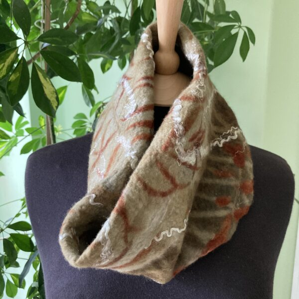 By Maggie Naturally Handmade cowl, nunofelted with merino wool on lovely silk lining, ecoprinted by hand with eucalyptus.