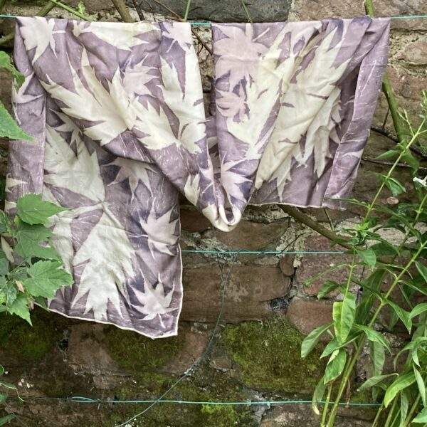 By Maggie Naturally Large Crepe de Chine 8 silk shawl, hand dyed with oak gallnut tannin and handprinted with tree paeony and acer leaves