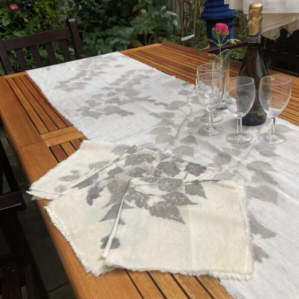 By Maggie Naturally One of a kind large linen table runner and four napkins, hand printed with silver birch leaves