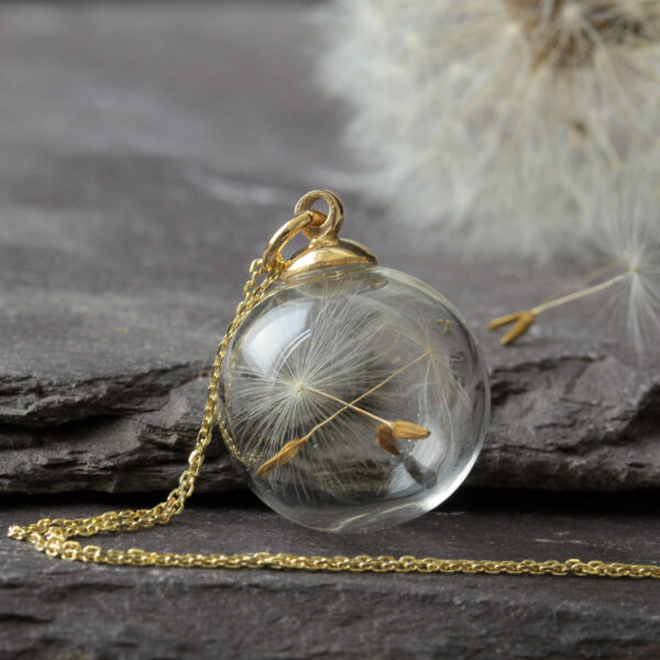 Gold Dandelion Seed Necklace