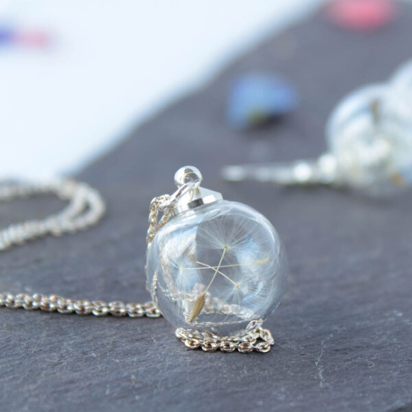 Lizzy Chambers Mini Glass Dandelion Seed Necklace