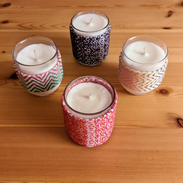 Up North Textile Design, Mini Candles with Matching Woven Cuffs