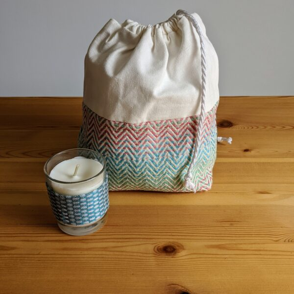 Up North Textile Design, Draw String Woven Make-up Bag & Mini Peppermint Candle
