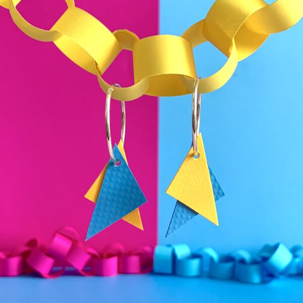 TRIANGLE Earrings : I was a bouncy castle : Yellow + Light Blue