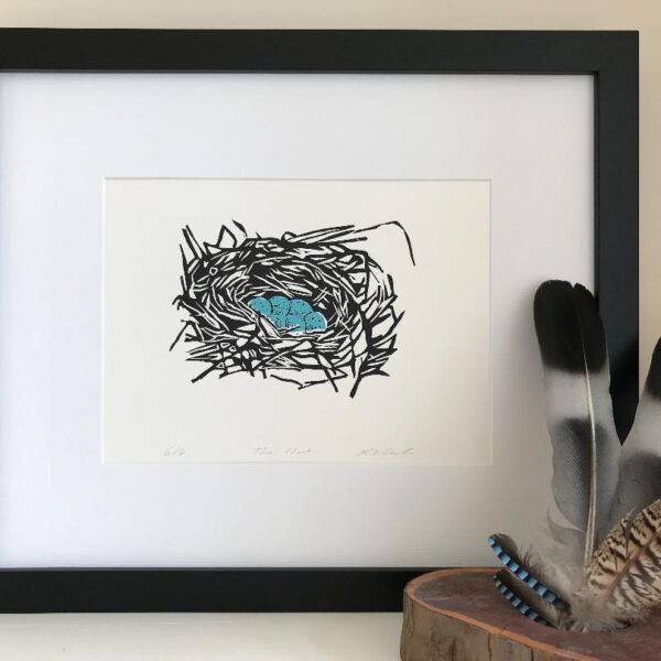 The Pepper Press The Nest Limited Edition Nature Birds Eggs Linoprint