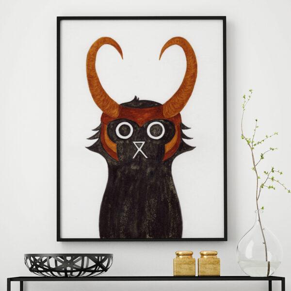 Baldy And The Fidget, Loki Cat Print